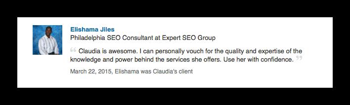 Elishama LinkedIn reco - Compliments