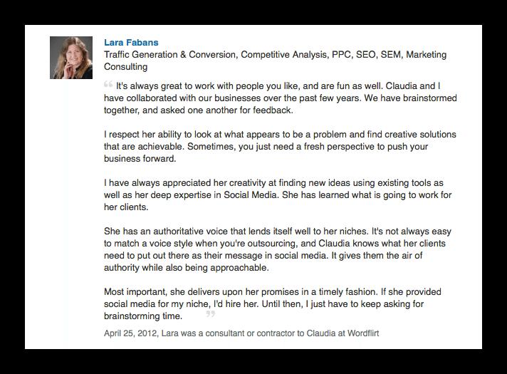 Lara Fabans LinkedIn reco - Compliments