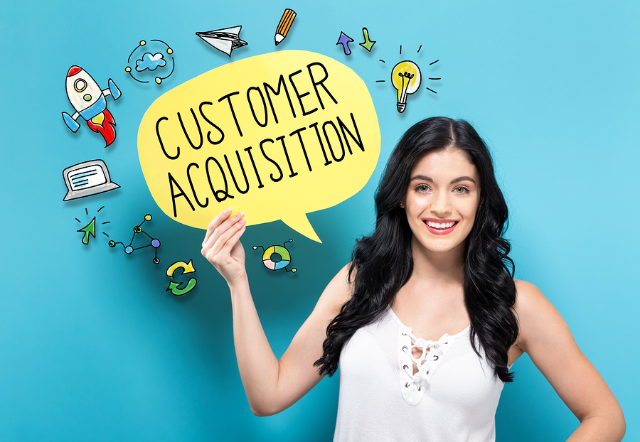 customer acquisition speech bubble woman