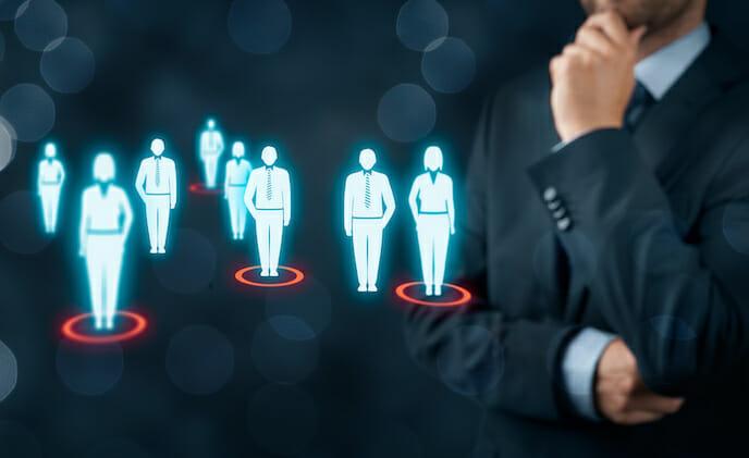 target audience people on virtual screen