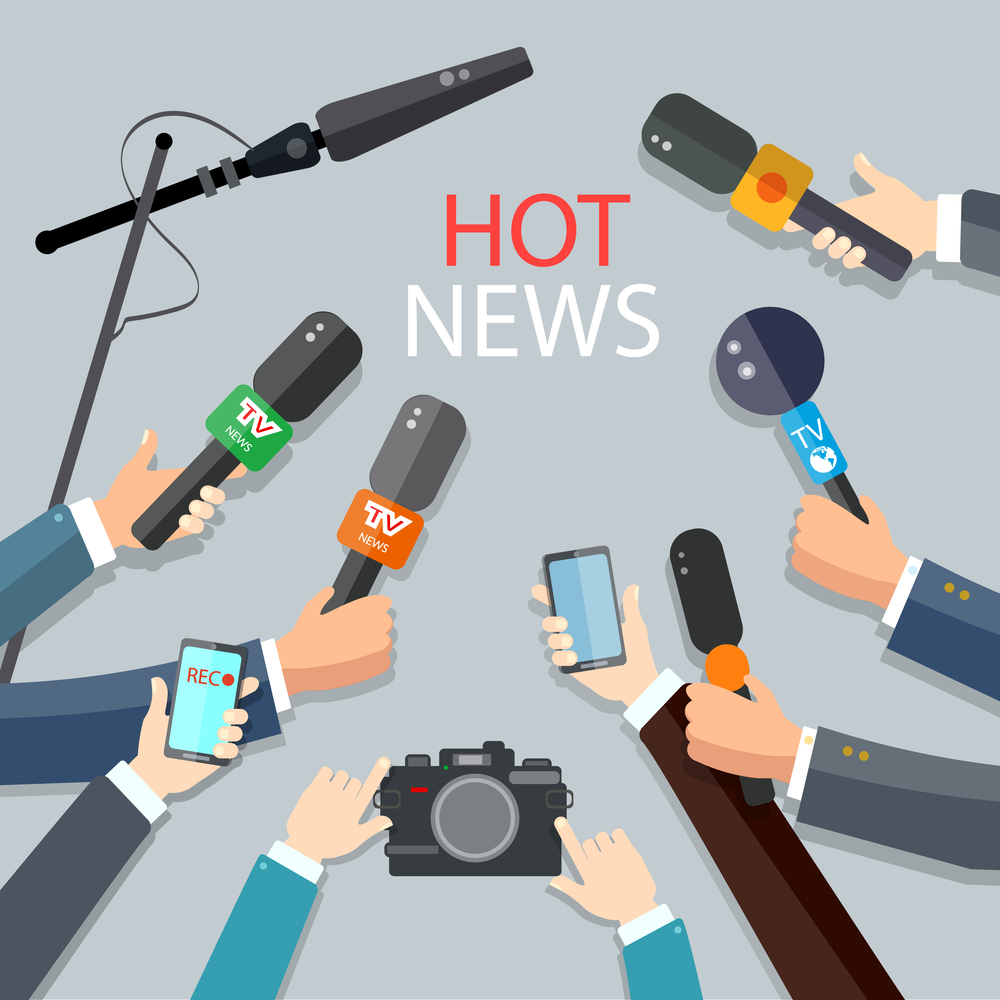 hot news illustration with microphones camera