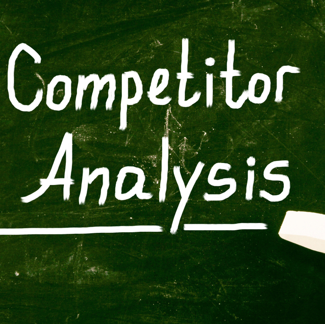 competitor analysis words on chalk board