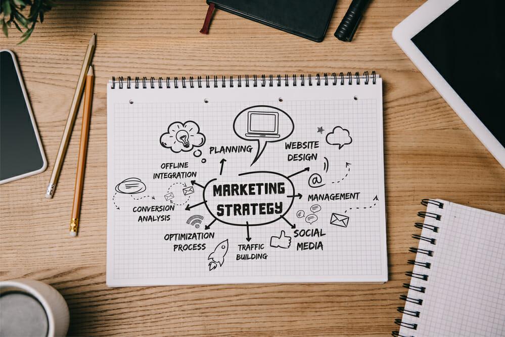 marketing strategy sketch on desk